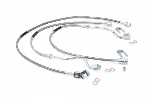 Suspension Components - Brake Lines - Rough Country Suspension - 89717 | Ford Extended Front & Rear Stainless Steel Brake Line
