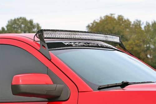 Lighting - Light Mounts / Brackets - Rough Country Suspension - 70514B | 54 Inch Curved LED Light Bar Upper Windshield Mount (GM)