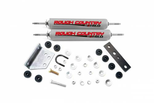 Suspension Components - Steering Stabilizers - Rough Country Suspension - 87354.20 | Dual Steering Stabilizer