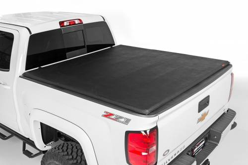 Exterior - Bed / Tonnea Covers - Rough Country Suspension - 44517650 | Ford Soft Tri-Fold Bed Cover | 6ft 6in Bed