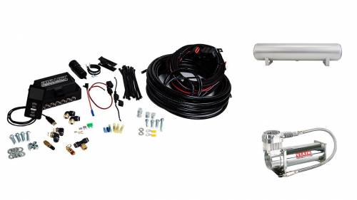 "Performance Air Suspension - Control Systems - Air Lift Performance - 27682 | 3P (1/4"" Air Line, 4 Gallon 5-Port Lightweight Raw Aluminum Tank, VIAIR 444C Compressor)"