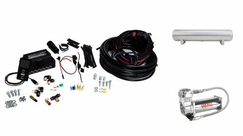 "Performance Air Suspension - Control Systems - Air Lift Performance - 27687 | 3P (3/8"" Air Line, 4 Gallon 5-Port Lightweight Raw Aluminum Tank, VIAIR 444C Compressor)"