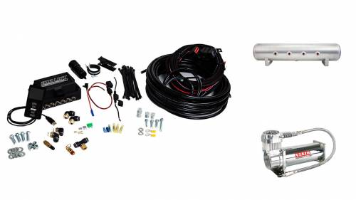 "Performance Air Suspension - Control Systems - Air Lift Performance - 27689 | 3P (3/8"" Air Line, 4 Gallon 7-Port Lightweight Raw Aluminum Tank, VIAIR 444C Compressor)"
