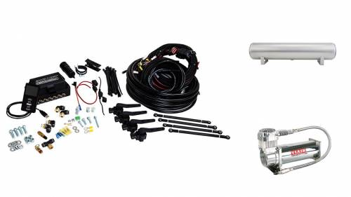 "Performance Air Suspension - Control Systems - Air Lift Performance - 27697 | 3H (3/8"" Air Line, 4 Gallon 5-Port Lightweight Raw Aluminum Tank, VIAIR 444C Compressor)"