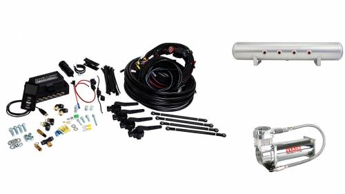 "Performance Air Suspension - Control Systems - Air Lift Performance - 27698 | 3H (3/8"" Air Line, 5 Gallon Lightweight Raw Aluminum Tank, VIAIR 444C Compressor)"