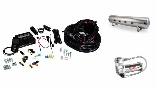 "Performance Air Suspension - Control Systems - Air Lift Performance - 27784 | 3P (1/4"" Air Line, 4 Gallon 7-Port Lightweight Polished Aluminum Tank, VIAIR 444C Compressor)"