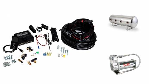 "Performance Air Suspension - Control Systems - Air Lift Performance - 27786 | 3P (3/8"" Air Line, 2.5 Gallon Lightweight Polished Aluminum Tank, VIAIR 444C Compressor)"