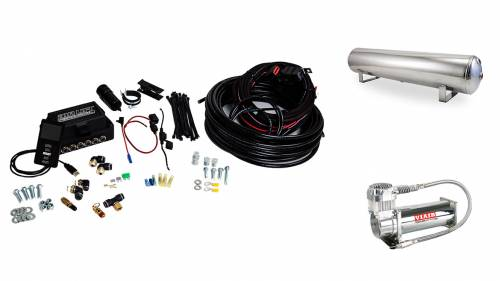 "Performance Air Suspension - Control Systems - Air Lift Performance - 27787 | 3P (3/8"" Air Line, 4 Gallon 5-Port Lightweight Polished Aluminum Tank, VIAIR 444C Compressor)"