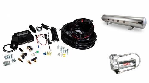 "Performance Air Suspension - Control Systems - Air Lift Performance - 27788 | 3P (3/8"" Air Line, 5 Gallon Lightweight Polished Aluminum Tank, VIAIR 444C Compressor)"
