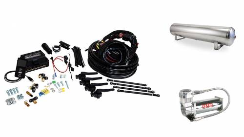 "Performance Air Suspension - Control Systems - Air Lift Performance - 27792 | 3H (1/4"" Air Line, 4 Gallon 5-Port Lightweight Polished Aluminum Tank, VIAIR 444C Compressor)"