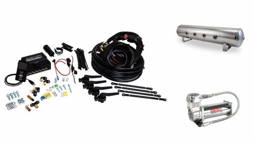"Performance Air Suspension - Control Systems - Air Lift Performance - 27794 | 3H (1/4"" Air Line, 4 Gallon 7-Port Lightweight Polished Aluminum Tank, VIAIR 444C Compressor)"