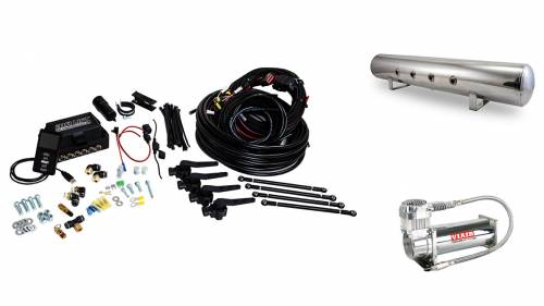 "Performance Air Suspension - Control Systems - Air Lift Performance - 27798 | 3H (3/8"" Air Line, 5 Gallon Lightweight Polished Aluminum Tank, VIAIR 444C Compressor)"