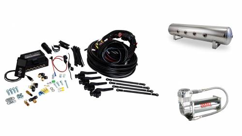 "Performance Air Suspension - Control Systems - Air Lift Performance - 27799 | 3H (3/8"" Air Line, 4 Gallon 7-Port Lightweight Polished Aluminum Tank, VIAIR 444C Compressor)"