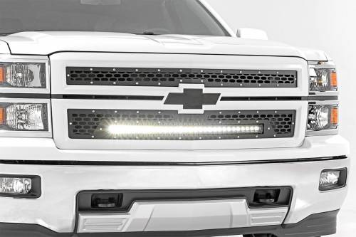 Exterior - Custom Grilles - Rough Country Suspension - 70103 | Chevrolet Mesh Grille with 30 Inch Black Series LED