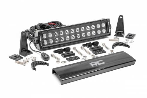Jeep - WJ Grand Cherokee - Rough Country Suspension - 70912BL | 12 Inch Cree LED Light Bar - Dual Row | Black Series