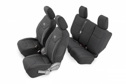 Interior - Seat Covers - Rough Country Suspension - 91002A | Jeep Neoprene Seat Cover Set | Black