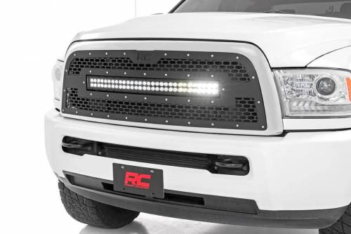 Exterior - Custom Grilles - Rough Country Suspension - 70152 | Ram mesh Grille with 30 Inch Dual Row Black Series LED