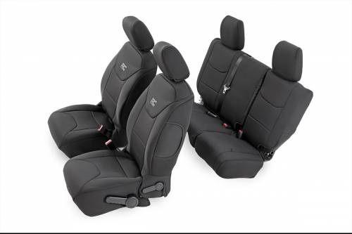 Interior - Seat Covers - Rough Country Suspension - 91007 | Jeep Neoprene Seat Cover Set | Black