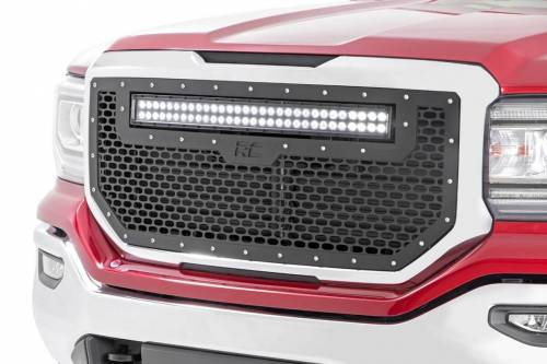 Exterior - Custom Grilles - Rough Country Suspension - 70158 | GMC Mesh Grille with 30 inch Dual row Black Series LED