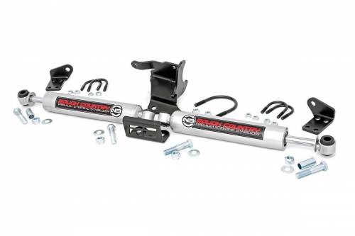 Suspension Components - Steering Stabilizers - Rough Country Suspension - 87304 | Jeep N3 Dual Steering Stabilizer