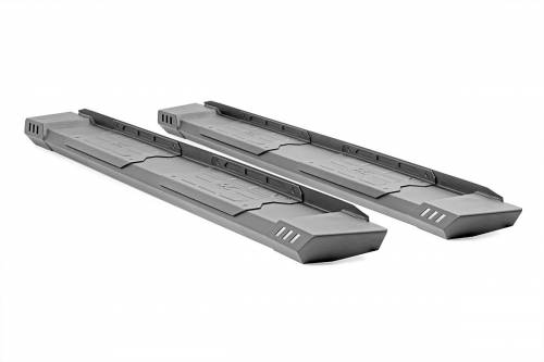 Exterior - Side Steps & Running Boards - Rough Country Suspension - SRB020877 | Dodge Cab Length HD2 Running Boards | Quad Cab