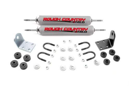 Suspension Components - Steering Stabilizers - Rough Country Suspension - 87336.20 | Ford N2.0 Dual Steering Stabilizer