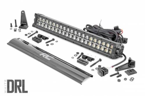 Lighting - Off-Road LED Lights - Rough Country Suspension - 70920BLKDRL | 20 Inch CREE LED Light Bar | Dual Row, Black Series w/ White DRL