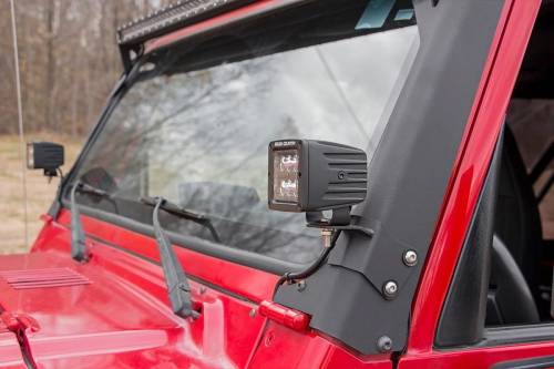 Lighting - Light Mounts / Brackets - Rough Country Suspension - 70046 | Jeep Lower Windshield Light Mounts