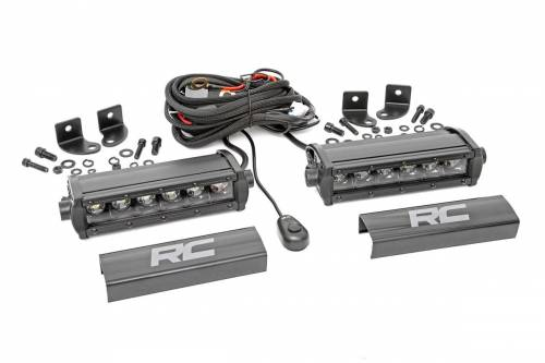 Lighting - Off-Road LED Lights - Rough Country Suspension - 70706BL | 6 Inch Cree LED Light Bars | Pair, Black Series