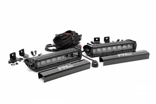 Lighting - Off-Road LED Lights - Rough Country Suspension - 70728BL | 8 Inch CREE LED Light Bars | Pair, Black Series