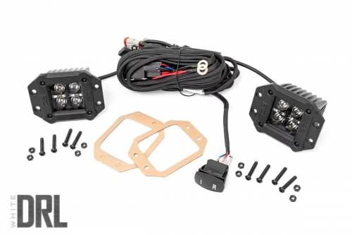 Lighting - Off-Road LED Lights - Rough Country Suspension - 70803BLKDRL | 2 Inch Square Flush Mount CREE LED Lights | Pair, Black Series w/ White DRL