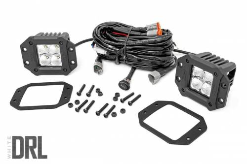 Lighting - Off-Road LED Lights - Rough Country Suspension - 70803DRL | 2 Inch Square Flush Mount CREE LED Lights | Pair, Chrome Series w/ White DRL
