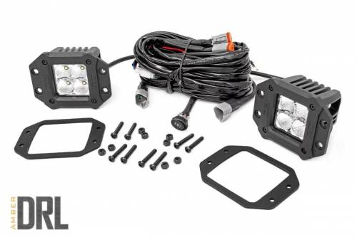 Lighting - Off-Road LED Lights - Rough Country Suspension - 70803DRLA | 2 Inch Square Flush Mount CREE LED Lights | Pair, Chrome Series w/ Amber DRL