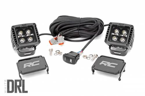 Lighting - Off-Road LED Lights - Rough Country Suspension - 70903BLKDRL |  2 Inch Square Cree LED Lights | Pair, Black Series w / White DRL