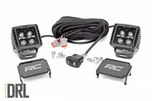 Lighting - Off-Road LED Lights - Rough Country Suspension - 70903BLKDRLA |  2 Inch Square Cree LED Lights | Pair, Black Series w / Amber DRL
