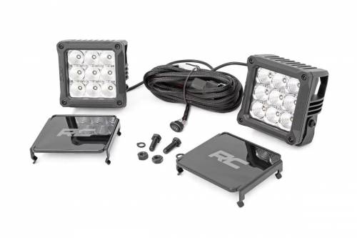 Lighting - Off-Road LED Lights - Rough Country Suspension - 70905DRL | 4 Inch Square CREE LED Lights | Pair, Chrome Series w/ White DRL