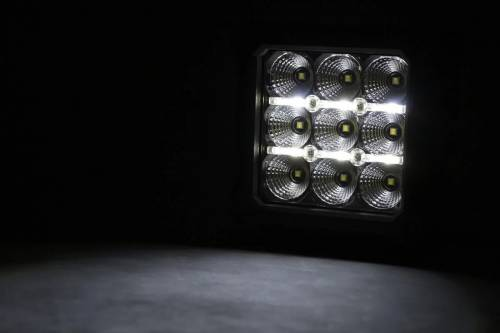 Rough Country Suspension - 70905DRL | 4 Inch Square CREE LED Lights | Pair, Chrome Series w/ White DRL - Image 3