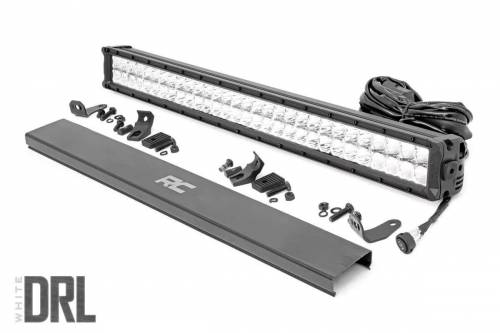 Lighting - Off-Road LED Lights - Rough Country Suspension - 70930DRL | 30 Inch CREE LED Light Bar | Dual Row, Chrome Series w/ White DRL