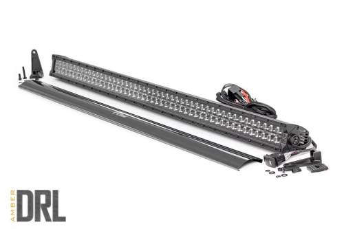 Lighting - Off-Road LED Lights - Rough Country Suspension - 70950BLKDRLA | 50 Inch CREE LED Light Bar | Dual Row, Black Series w/ Amber DRL