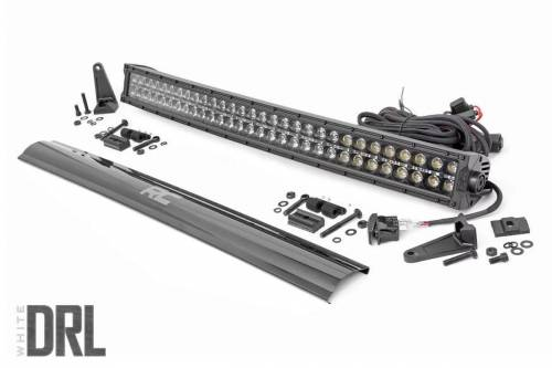 Lighting - Off-Road LED Lights - Rough Country Suspension - 72930BLKDRL |  30 Inch Curved Cree LED Light Bar | Dual Row, Black Series w/ White DRL