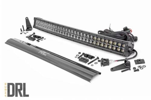 Lighting - Off-Road LED Lights - Rough Country Suspension - 72930BLKDRLA |  30 Inch Curved Cree LED Light Bar | Dual Row, Black Series w/ Amber DRL