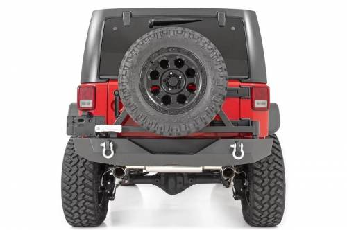 Rough Country Suspension - 10594A | Jeep rock Crawler Rear HD Bumper with Tire Carrier