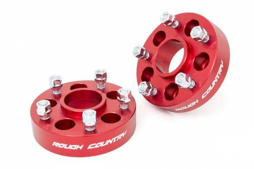 Wheels - Wheel Spacers - Rough Country Suspension - 1092RED | Jeep 1.5 Inch Wheel Spacers | 5 X 4.5 to 5 X 5 Bolt Pattern