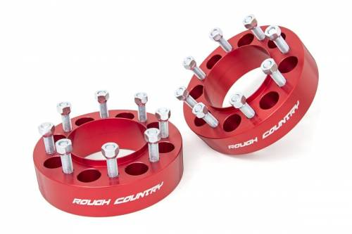 Wheels - Wheel Spacers - Rough Country Suspension - 1094RED | Ford 2 Inch Wheel Spacers | 8 X 170 Bolt Pattern