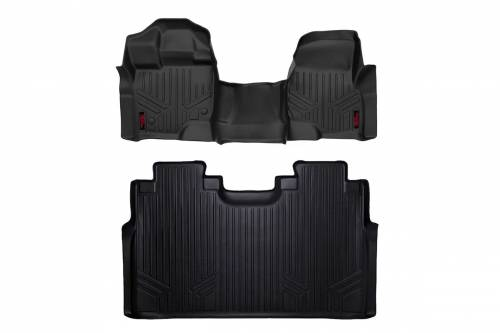 Interior - Floor Mats & Cargo Liners - Rough Country Suspension - M-51153 | Heavy Duty Front & Rear Floor Mats | Super Crew, Bench Seats