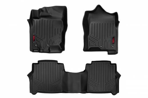 Interior - Floor Mats & Cargo Liners - Rough Country Suspension - M-80513 | Heavy Duty Front & Rear Floor Mats | Crew Cab