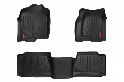Interior - Floor Mats & Cargo Liners - Rough Country Suspension - M-29912 | Heavy Duty Front & Rear Floor Mats | Extended Cab