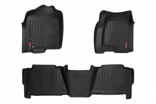 Interior - Floor Mats & Cargo Liners - Rough Country Suspension - M-29913 | Heavy Duty Front & Rear Floor Mats | Crew Cab