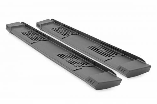 Exterior - Side Steps & Running Boards - Rough Country Suspension - SRB01950 | Ram Cab Length HD2 Running Boards | Crew Cab