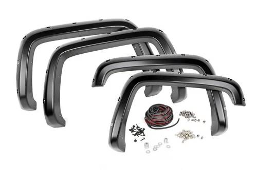 Exterior - Fender Flares - Rough Country Suspension - F-C10714A | Chevrolet Pocket Fender Flares with Rivets